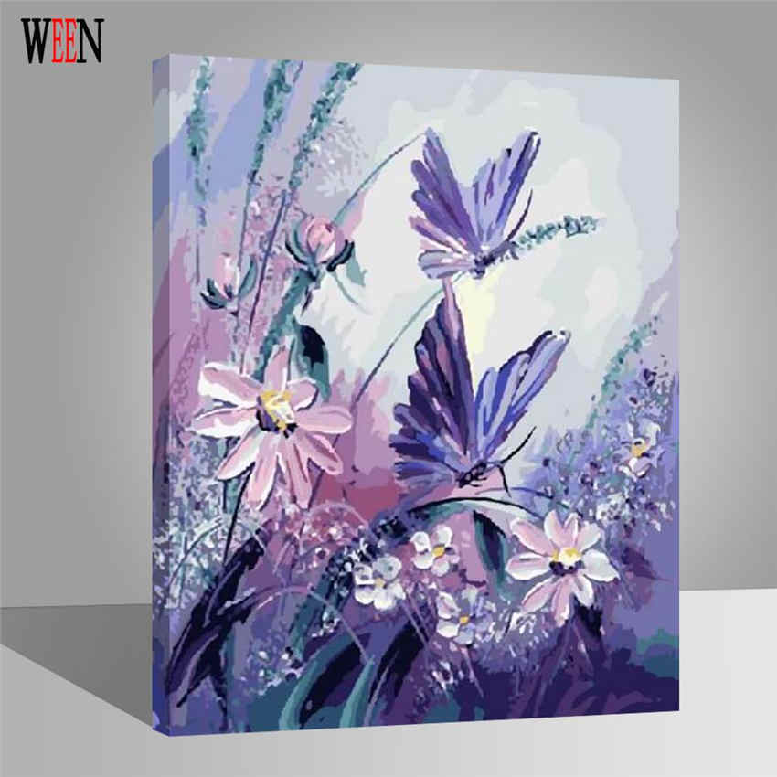 Flower and butterfly Oli Painting Coloring by Numbers On Canvas Wall Pictures Painting Art Digital Cuadros Decoracion Home Gift in Painting Calligraphy from Home Garden