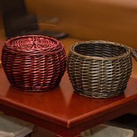 Natural Handmade Woven Wicker Basket Organizer With Lid Decorative Willow Small Baskets