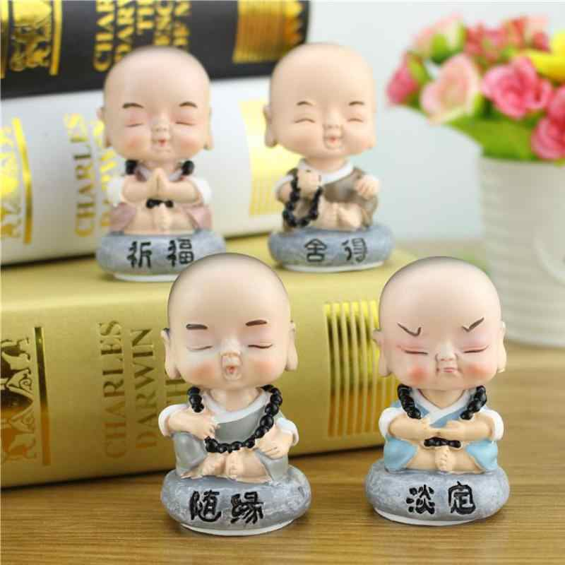 1pcs Kawaii Shaking Head Monk Figurine Crafts Fun Expression Resin Buddha Souvenir Dolls Accessories Craft Supplie Shome Decor