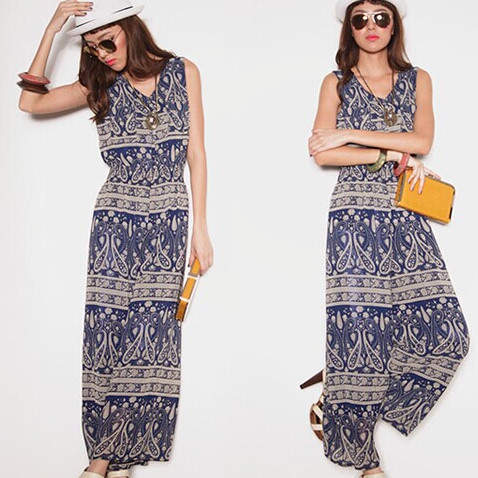 Ladies 2015 Summer New Jumpsuits Women V-neck chiffon jumpsuit Female Sleeveless Trousers