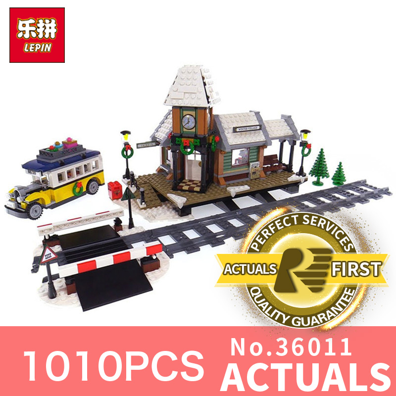 Lepin 36011 1010Pcs Creative the Winter Village Station Set model Building Blocks Toys Model for Children Christmas Gifts lepin 36011 creative series 1010pcs legoinglys village station model sets building nano block bricks toys diy for boy girls
