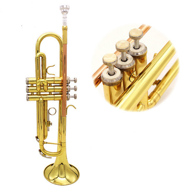 Bb Copper Golden Brass Mouth Trumpet With Case Cover Glove Brush Clean Cloth Parts For Woodwind Musical Instruments Lover Gift bb f tenor trombone lacquer brass body with plastic case and mouthpiece musical instruments