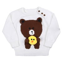 Kids Knitted Sweater 2017 New Arrival Cartoon Brown Bears Cute 3D Chick Baby Boys Girls Pullovers White Age For 12M-5Years GW65