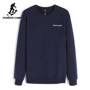 Image 1 - Pioneer Camp z polaru grube bluzy męskie zimowe ciepłe 100% bawełniane bluzy z kapturem męskie marki odzież na co dzień Plus rozmiar XXXL