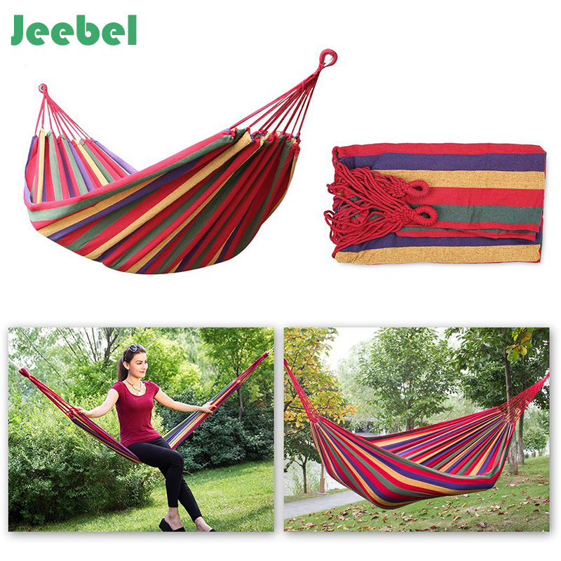 Jeebel Hammock hamac outdoor Leisure bed hanging bed double sleeping canvas swing hammock camping hunting for 1-2 person LGBT 50pcs lot 280 150cm 80cm hammock hamac outdoor leisure bed hanging bed double sleeping canvas swing hammock camping una hamaca