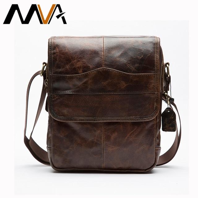 MVA Genuine Leather Bag Men Bags Small Casual Flap Shoulder Crossbody Bags Messenger Men's Leather Bag Men Handbags 2017 new