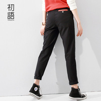 Toyouth Women's Jeans Solid Black Pencil Pants Lady Mid Waist Skinny All Match Trousers