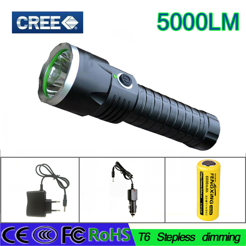 23 z30 Portable led Flashlight 5000LM CREE XM-L T6 waterproof led Torch flash Light Rechargeable  flashlight for camping hunting 5000 lumens flashlight cree xm t6 5modes led tactical flash light waterproof lamp torch hunting flash light lantern for camping