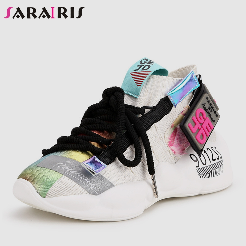 SARAIRIS New INS Hot Colored Light Sock Sneakers Women 2019 Summer Fashion Plus Size 35-44 Dad Shoes Women Casual Shoes WomanSARAIRIS New INS Hot Colored Light Sock Sneakers Women 2019 Summer Fashion Plus Size 35-44 Dad Shoes Women Casual Shoes Woman