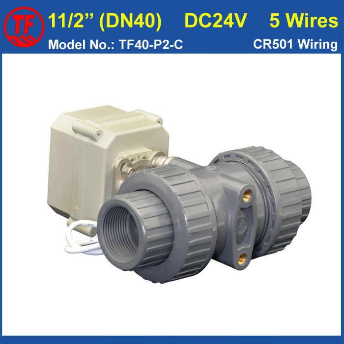 TF40-P2-C, DC24V 5 Wires PVC DN40 Electric Ball Valve BSP/NPT 11/2'' Motorized Ball Valve 10NM On/Off 15 Sec Metal Gear CE, IP67 dn20 electric pvc valve tf20 p2 c ac110v 230v 4 wires bsp npt 3 4 pvc motorized valve 10nm on off 15 sec metal gear ce ip67