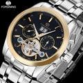 2017 FORSINING luxury brand men tourbillon automatic watch stainless steel mechanical wrist watches men auto date week clock