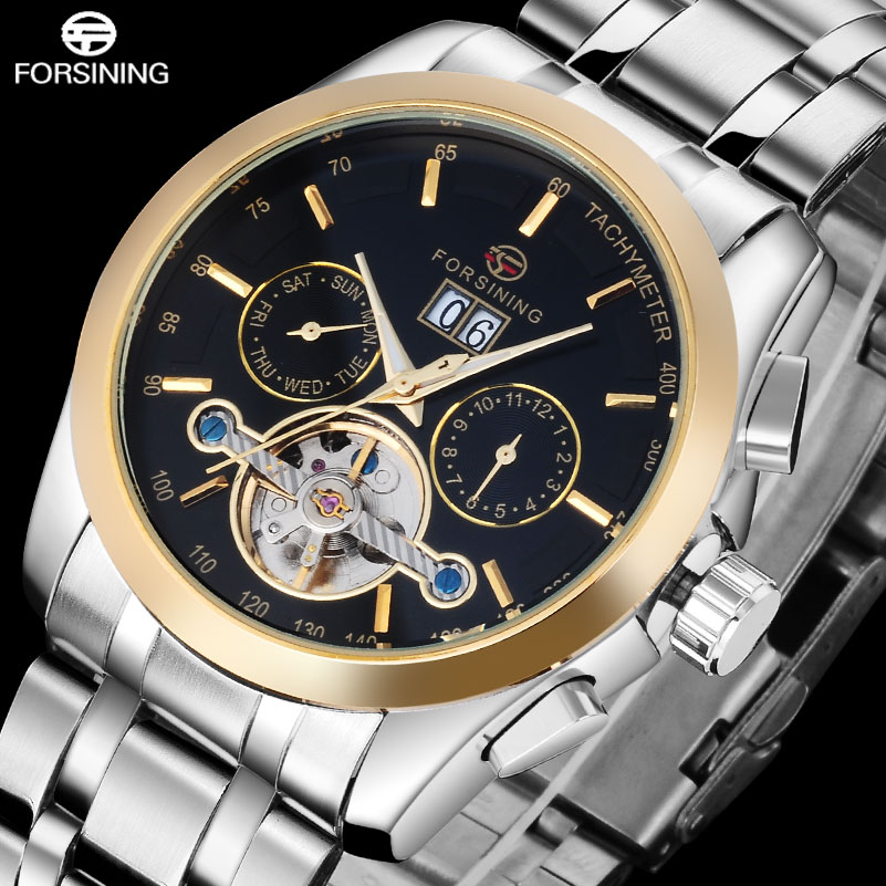 FORSINING 2017 Luxury Brand Men Tourbillon Automatic Watch Stainless Steel Mechanical Wrist Watches Men Auto Date Week Clock orkina luxury brand automatic mechanical men s watch black brown leather strap wrist watch gifts auto date week month display