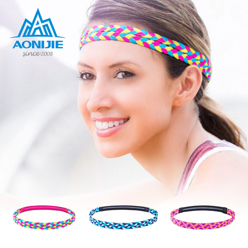 AONIJIE Anti-sweat Sports Gym Yoga Elastic Hair Band Tennis Grip Headband Grip Tape Running Fitness Double Braided Sweatband