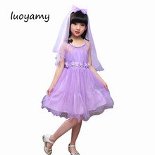 luoyamy Summer Girls Lace Strapless Dance Dress Children s Clothing  Graduation Gowns Princess Bow Dress Kids Ball 4c53549e1ca6
