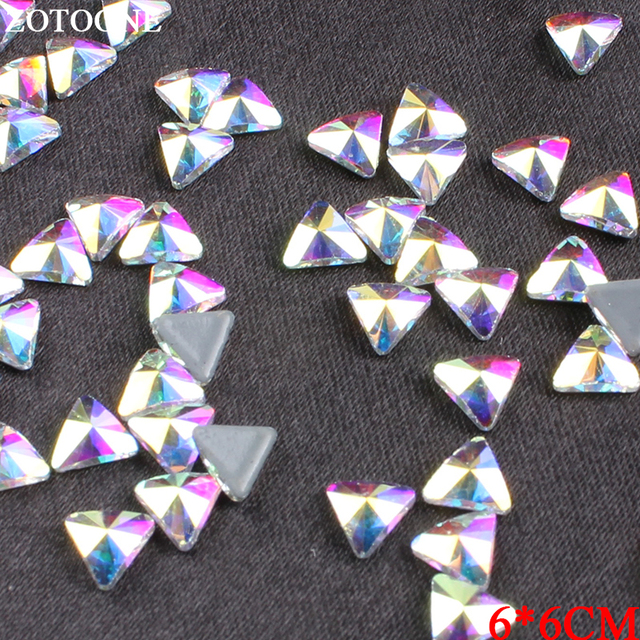 ZOTOONE Crystal AB Triangle Rhinestone Hotfix Iron On Stones And Crystals  Strass Flatback Nail Art Rhinestones For DIY Crafts E fd65a8be4da8