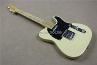 Hot sale tele electric guitar,professional show TL guitar cream yellow version black pickguard high quality free shipping