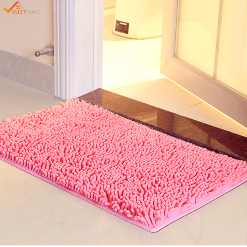 4060cm microfiber chenille bathroom rugs carpet shag non slip shower soft plush absorbent bath - Bathroom Carpet