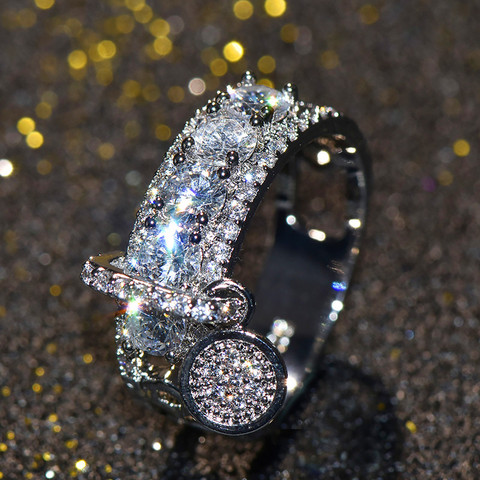Luxury Female Crystal Zircon Stone Ring Unique Style Fashion Rose Gold Silver Jewelry Vintage Wedding Rings For Men And Women Multan