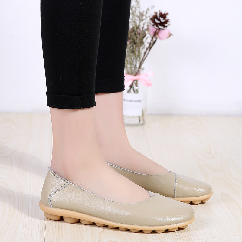 PEIPAH Spring Genuine Leather Comfortable Womens Shoes Shallow Flats Mother Peas Shoes Large Size Daily Chaussures