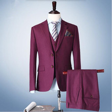 Red men suits wool blended two button formal business suits latest design groom wedding party suits tuxedos(jacket+vest+pants)