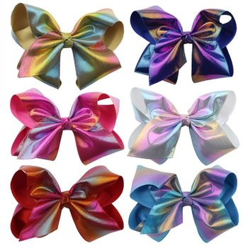 Girls Big Reflective PU Bowknot Barrettes Cute Hairpin Clip Children Hair Styling Daily Use Festival Dancing Party Supply Gift