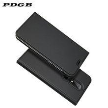 PDGB Caso de Couro Da Aleta para Nokia X5 X7 X6 2018 Coque 2.1 3.1 5.1 6.1 7.1 Mais 8.1 Livro De Luxo carteira Tampa Do Telefone de Casca Mole