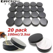 Check Price 20pcs 100ml Empty Aluminum Cream Jar Tin Cosmetic Lip Balm Containers Nail Art Derocation Crafts Pot Bottle Screw Thread Black