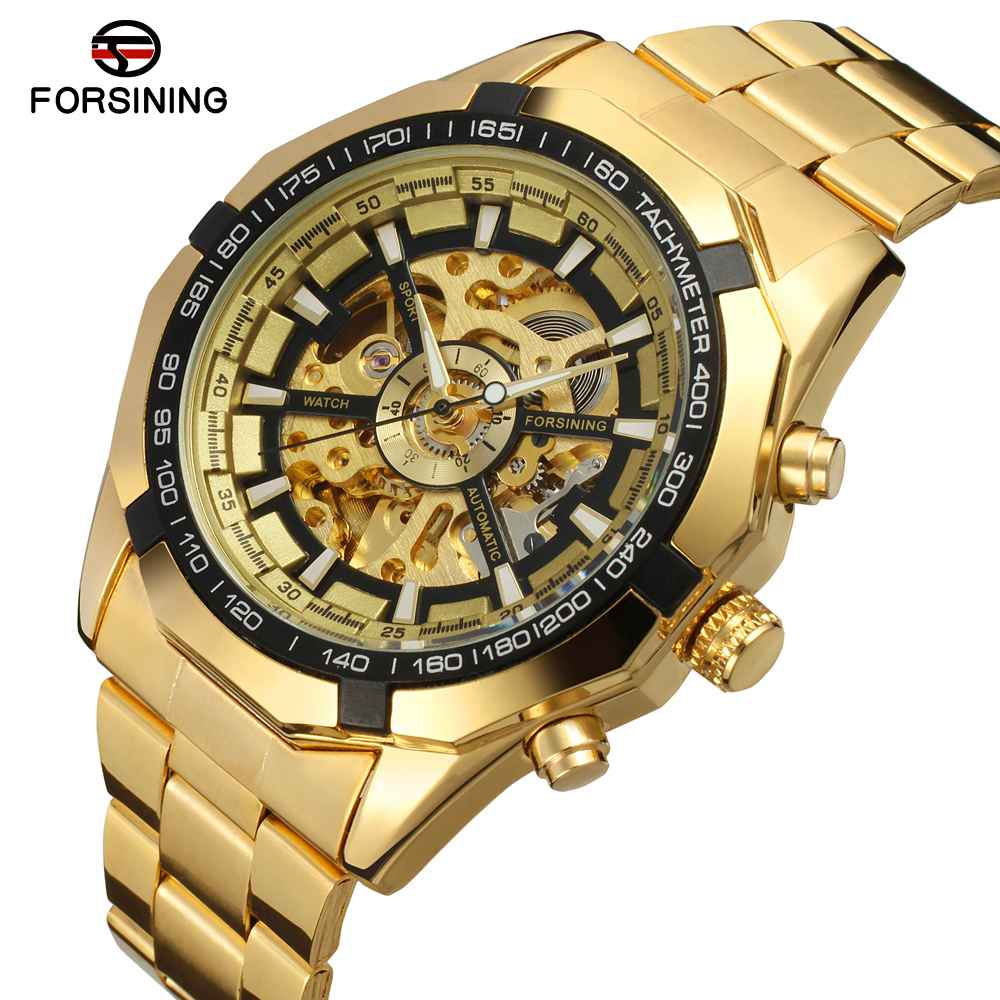 Fashion Men Skeleton Automatic Mechanical Watch Gold Skeleton Vintage Man Watch Mens FORSINING Watch все цены