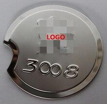 Etiqueta de acero inoxidable tapa del depósito de combustible para Peugeot 3008, Envío gratis car-styling trim tapa de aceite proteger decorat película auto cubierta