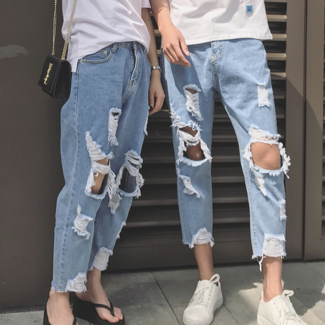f36f5c3cf22 New Jeans Men Hole Slim Fit Denim Straight Jean Couple Casual Stretch  Destroyed Ripped Jeans Men Skinny Jeans 1804071