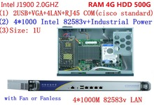 With RAM 4G HDD 500G Quad Core  Celeron J1900 2.0GHZ Four LAN Firewall community server