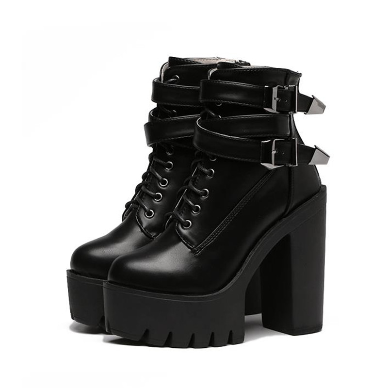 Hip Hop 2018 Autumn Fashion Women Boots High Heels Platform Buckle Lace Up Leather Short Booties