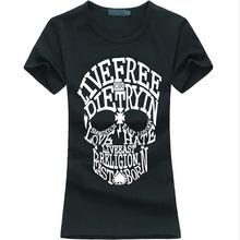 2016 summer Kawaii skull print women t-shirt funny cotton casual tee shirt femme harajuku fashion brand hipster punk slim tops