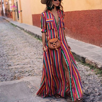 Stripes Summer Dresses Women Bikinis Cover Ups Sexy Long Beach Dresses Short Beach Pockets Sarongs