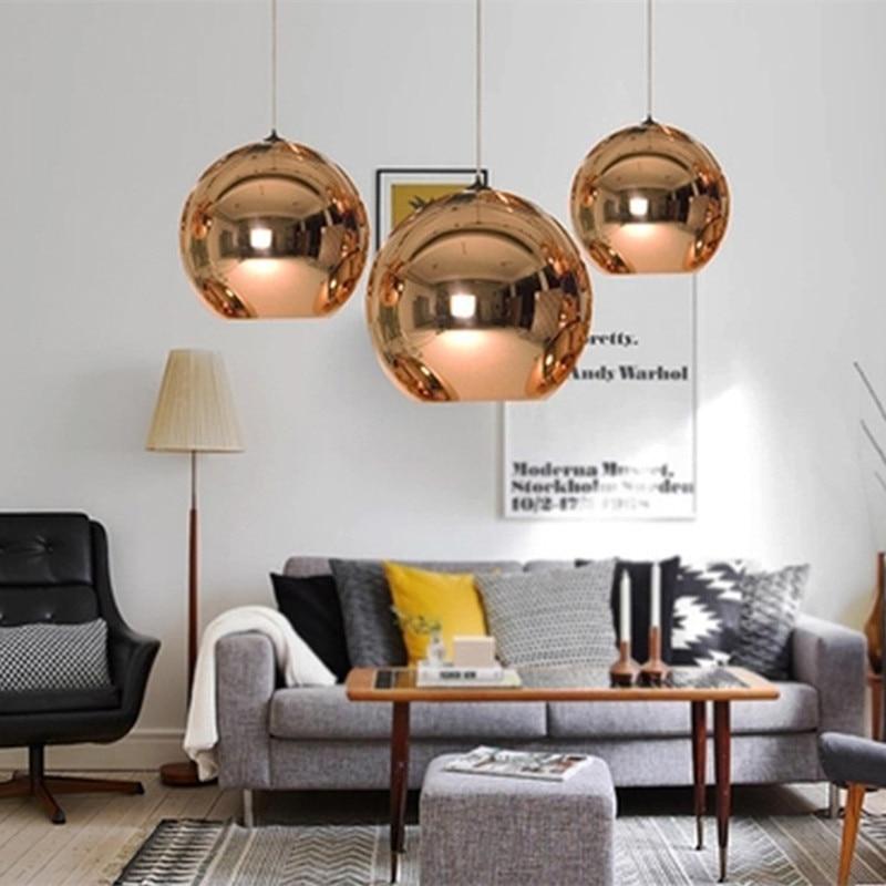 Nordic Pendant lights Mirror Ball Hanging Lamp Glass Globe Pendant Lamps luminaire kitchen fixture Modern lighting