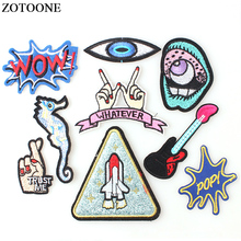 ZOTOONE 1PC Letter Punk Patch Cheap Embroidered Cute Patches Applique  Hippie Iron on Cartoon Sticker Clothes