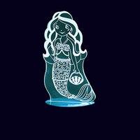3D Led Little Mermaid Girl Modelling Night Lights 7 Colorful Desk Lamp Usb Bedroom Sleep Light