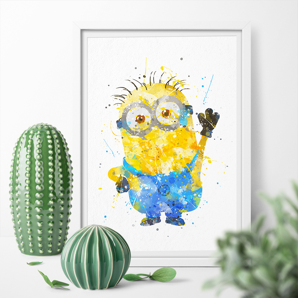 HD Printed Minions Watercolor Posters Prints Canvas Painting Wall ...