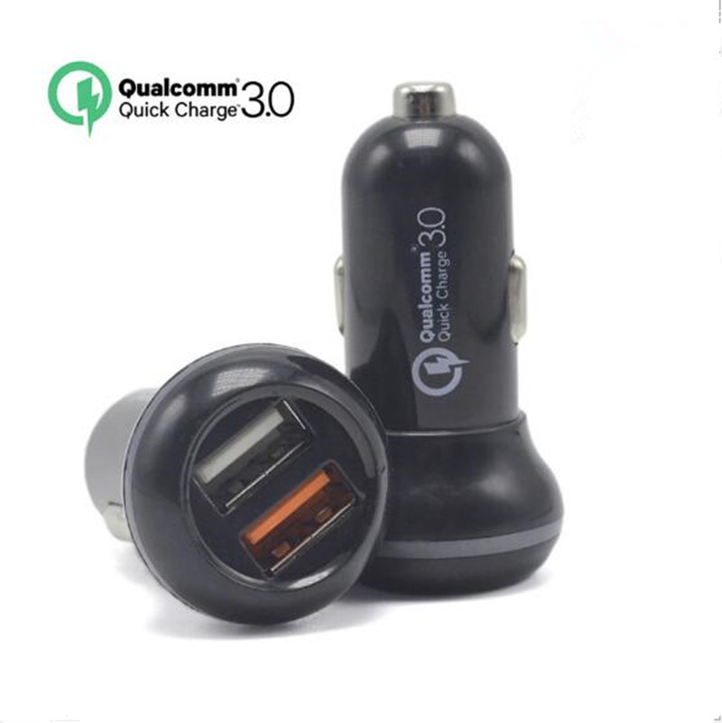 For Qualcomm Quick Charger 3.0 9V 12V 2 Port Mini USB Car Charger for iPhone 7 6s iPad Samsung HTC Xiaomi QC2.0 Compatible