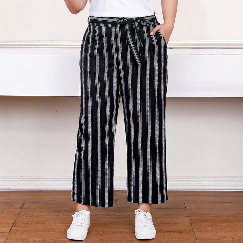 Plus Size Striped Trousers Women   Wide     Leg     Pants   with Sashes 2019 Summer Pockets Straight Casual   Pants   T59K611