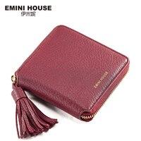 EMINI HOUSE Luxury Genuine Leather Tassel Women Wallets Zipper Coin Purse Short Wallet Fold Card Holder