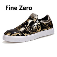 Fine Zero 2017 Mens Metal toe decorate Men Zipper slip on gold silver hip hop Mesh Flats For Men Loafer Creepers Casual Shoes