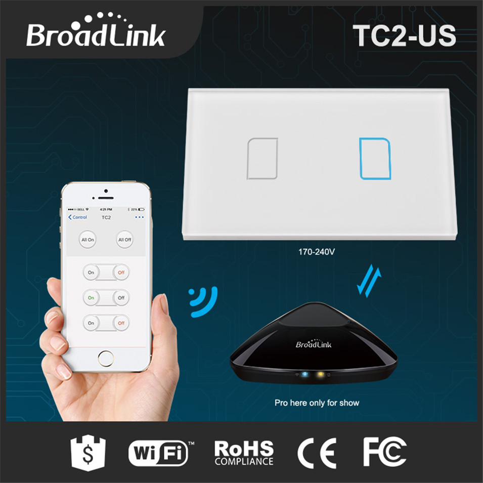 Broadlink TC2 US/AU Smart Home RF433 Touch Light Switches 2 Gang 1 Way Remote Control by Rm pro Wall Touch Switch Panel 170-240V smart home us au wall touch switch white crystal glass panel 1 gang 1 way power light wall touch switch used for led waterproof