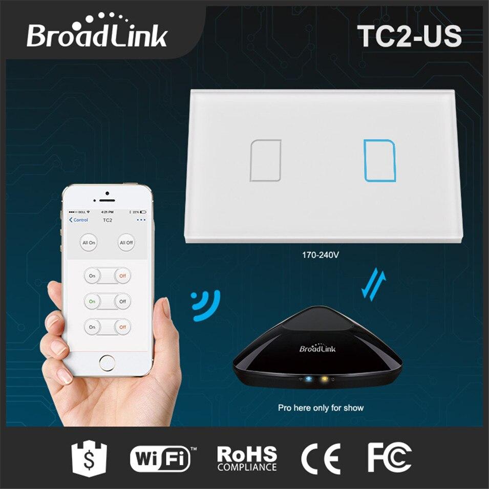 imágenes para Broadlink tc2 ee. uu./au rf433 interruptores táctiles 2 gang casa inteligente control remoto de 1 vías by rm pro táctil de pared interruptor del panel 170-240 V