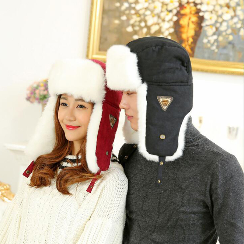 Winter Hat Cap Earflap-Hat Bomber Russian-Fur Black Ushanka Women Unisex Solid for HT533