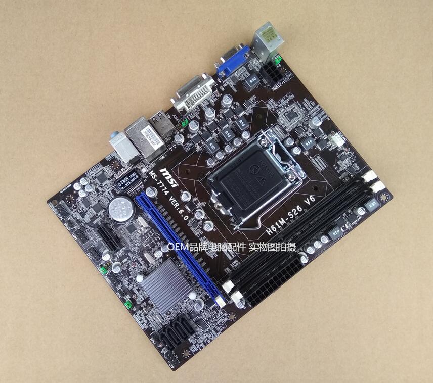 MSI original motherboard H61M-S26 V2 V6 DDR3 LGA 1155 Desktop Motherboard h61m hgs vs4 vg4 vs3 motherboard 1155 set significant
