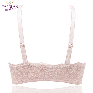 Image 4 - PAERLAN Wire Free Front Closure of the Women bra Floral Lace one piece small chest Push Up Seamless sexy underwear Bow 3/4 Cup