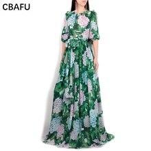 CBAFU high quality runway maxi long dress 2019 autumn newest big swing bow  tie long sleeve 1c16a2ca0