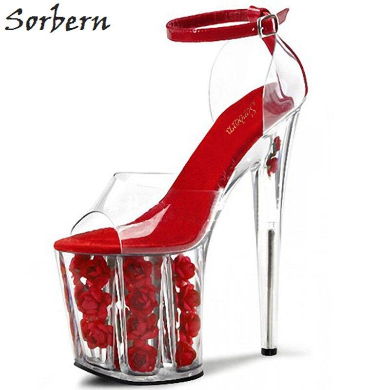 ec17b1911 Plataforma Sorbern Vermelho Sapatos Sandálias Das Mulheres Saltos Claros  Plástico Transparente Dedo Aberto Tiras No Tornozelo Coberto Saltos Tamanho  11 ...