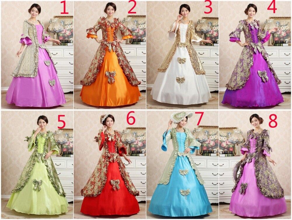 8 choix de couleurs/robe médiévale de luxe robe de Renaissance reine costume victorien/Marie Antoinette/guerre civile/Colonial Belle balle